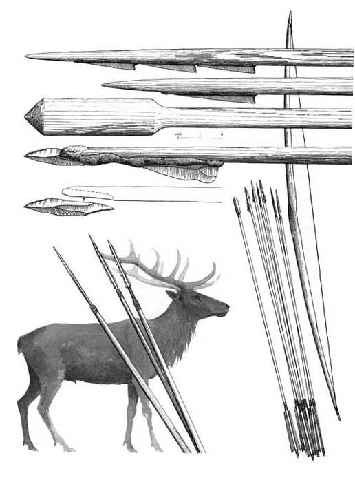 The stone Age hunter's bow and arrow