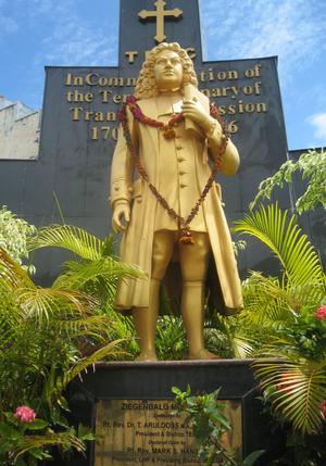 Statue of Bartholomæus Ziegenbalg (1682-1719) inaugurated in Tranquebar in 2006. Photo: Helle Jørgensen, 2008. National Museum of Denmark